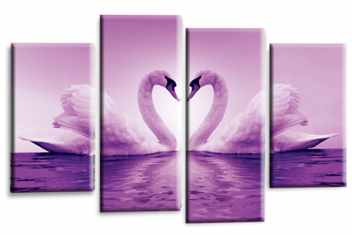Love Swans Canvas Wall Art Picture Kissing Heart Light Purple White Print